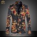 Большой Размер 3D Цветочные Блейзер Мужчины Бренд-одежда 6XL 5XL Высокое Качество Национальный Стиль Партия Мужчины Blazer Slim Fit блейзер Masculino