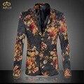 Tamanho grande 3D Floral Blazer Homens Marca-roupas 6XL 5XL Alta Qualidade Estilo Nacional Do Partido Homens Blazer Slim Fit Blazer Masculino