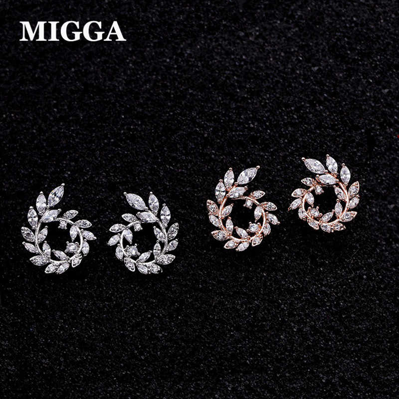 MIGGA Sweet Branch Leaf Cubic Zirconia Earrings Rose Gold Color Elegant Crystal Stud Earrings for Women