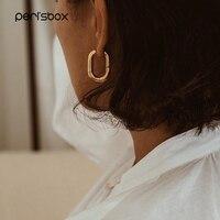 Peri'sBox meilleure vente or français Chic O en forme de cerceau boucles d'oreilles femmes gros cerceaux géométrique en laiton boucles d'oreilles minimaliste