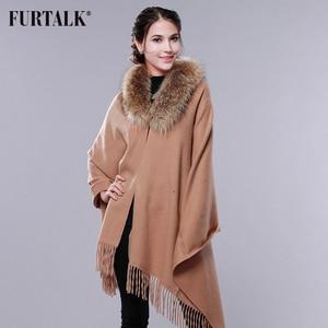 Image 5 - FURTALK Cashmere Wool Scarf Pashmina Cashmere Fur Shawl Women Real Fox Fur Collar Winter Long Warm Fur Scarf Raccoon Fur Shawl