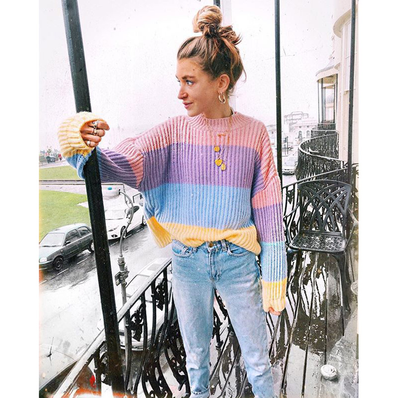 Cute Oversized Sweater Women Knitted Clothes Macaron Colors Pullover Female Jumper Patchwork 2018 Winter Pull Sweaters