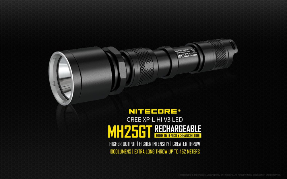 NEW NITECORE MH25GT Waterproof 1000LM Tactical CREE XP-L HI V3 LED Light Lamp Flashlight Torch+3400mah Battery+holster+USB Cable nitecore p12gt cree xp l hi v3 1000lm led flashlight 320 meter torch new i2 charger 18650 3400mah battery for search