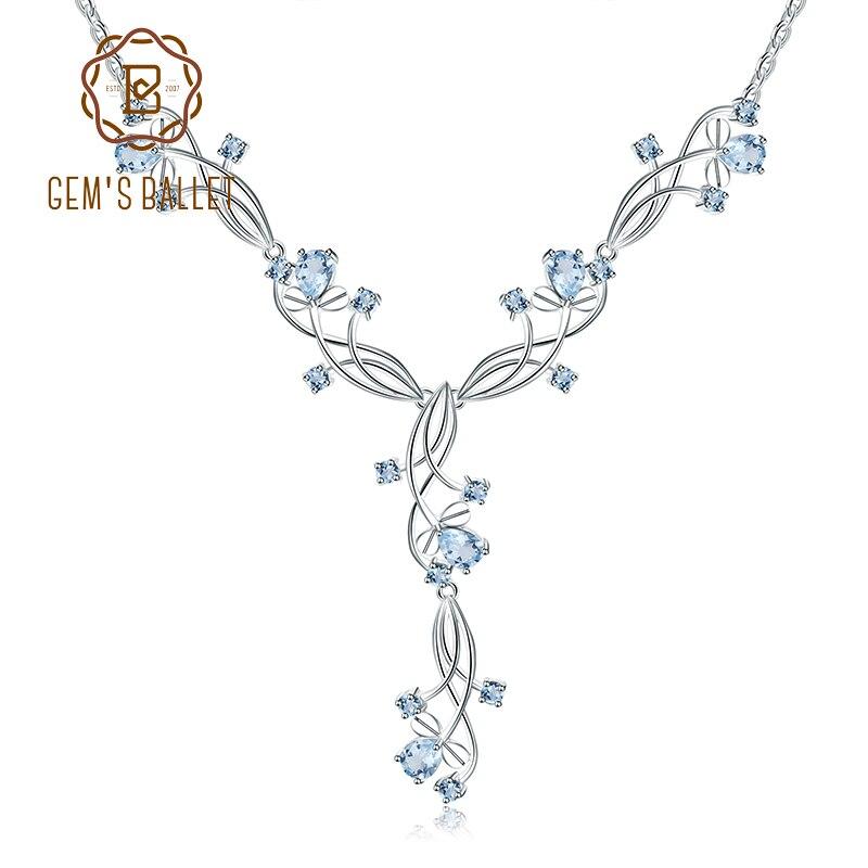 Gem s Ballet 7 89ct Natural Sky Blue Topaz Gemstone 925 Sterling Silver Romantic Pendants Necklace
