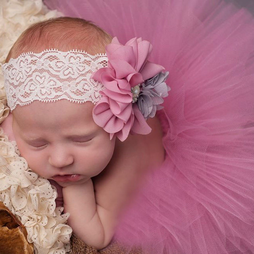 Antique Rose Tutu and Vintage Style Headband Handmade Newborn Tutu Baby Girl Photography Props Birthday Gift TS049
