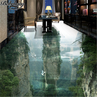 Beibehang Custom Flooring 3d Human Fairyland Peak Cliff Living Room Bathroom Decoration Painting 3D Floor Tiles