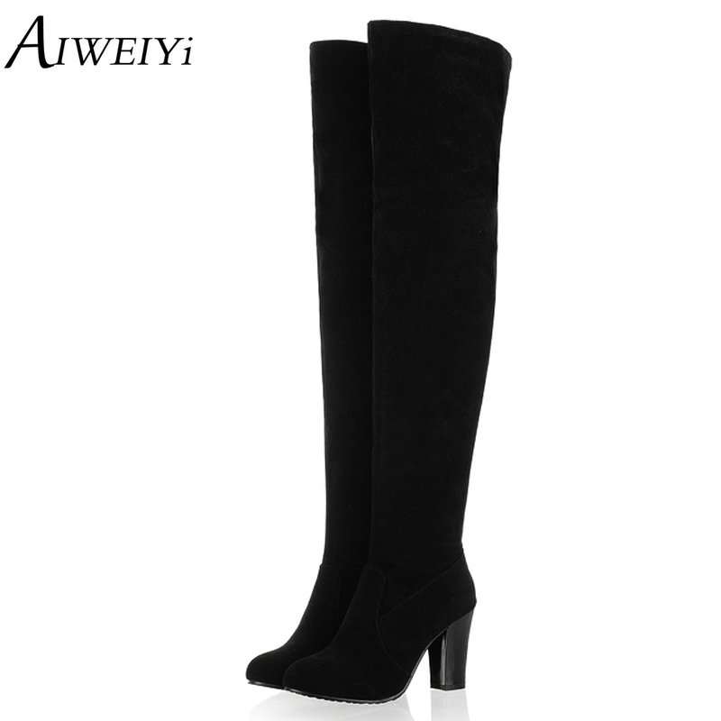 AIWEIYi Big Size 34-45 2018 Women Boots Thick High Heel Over the Knee High Boots Autumn Winter Boots Fashion Thigh High shoes