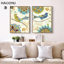 HAOCHU Vintage Ethnic Birds Wall Poster Geometric Flowers Butterfly Canvas Painting for Living Room Decor No Frame Pictures