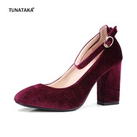 Faux Suede Buckle Strap Thick High Heel Pumps Fashion Round Toe Party Spring Autumn Women Shoes