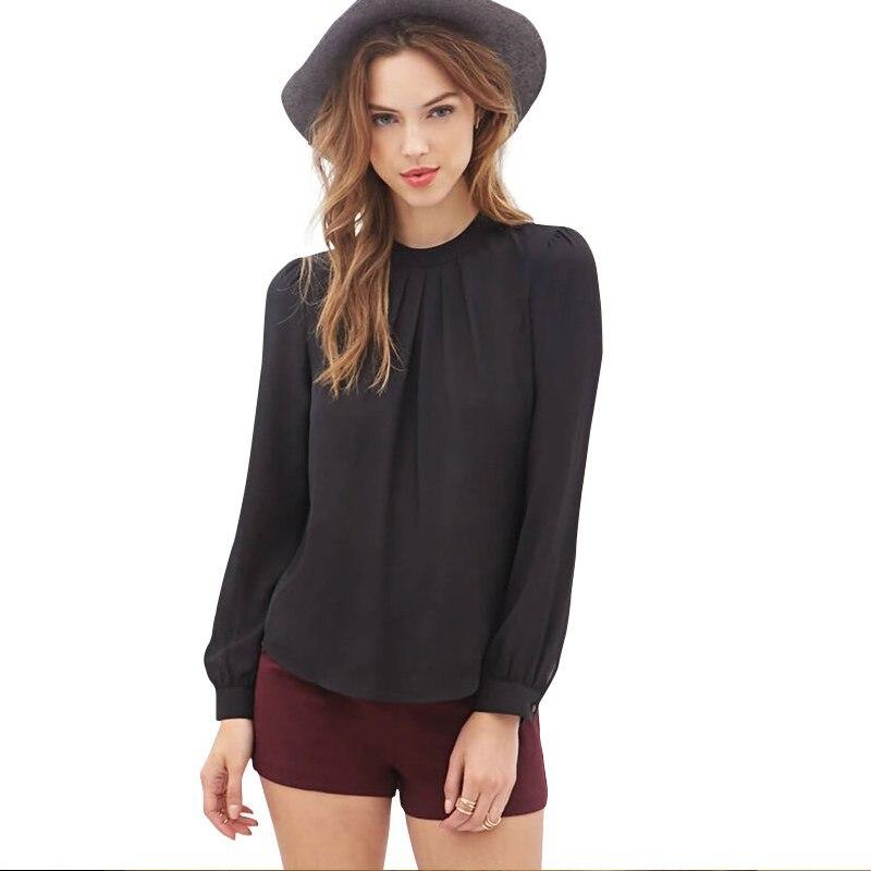 Nueva Llegada del Resorte  Mujeres de La Manera Gasa Del Collar Del Soporte de La Blusa Camisetas de Manga larga Casual Corte e Camisa Tops Negro Rosa 800032