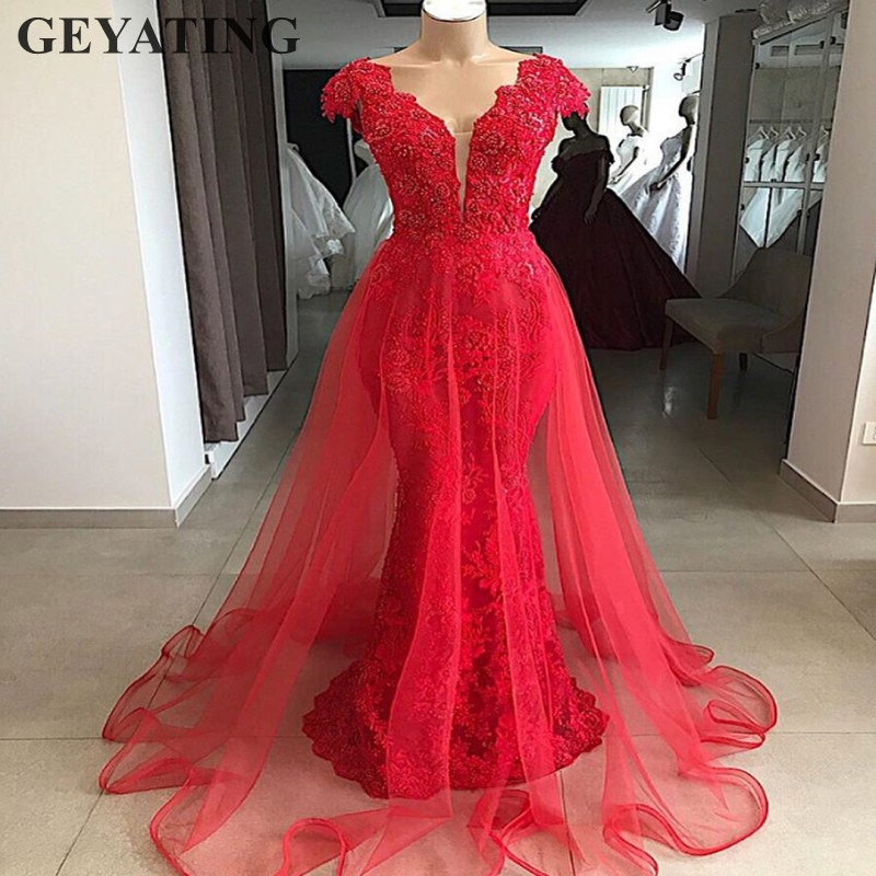 4f3885b7c8 US $149.6 20% OFF Vintage Lace Red Mermaid Overskirt Evening Dress Dubai  2019 Elegant V neck Arabic Prom Dresses Long Formal Party Gowns Beaded-in  ...