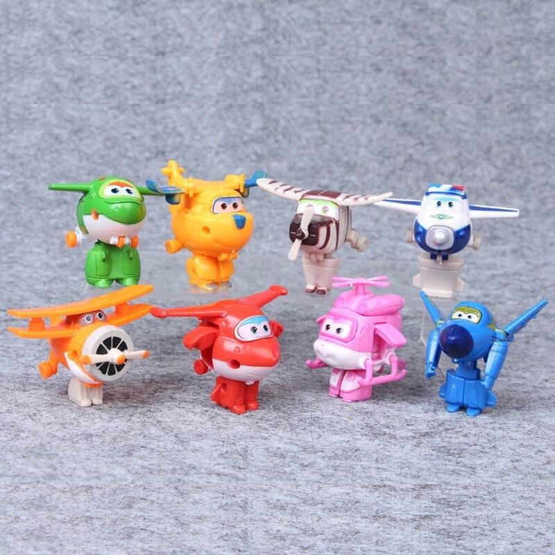 8 Pcs/ensemble Nouveau Mini Super Ailes Figurines Transformation Avion Robot Jouets Pour Enfants Cadeau D'anniversaire Superwings Collection