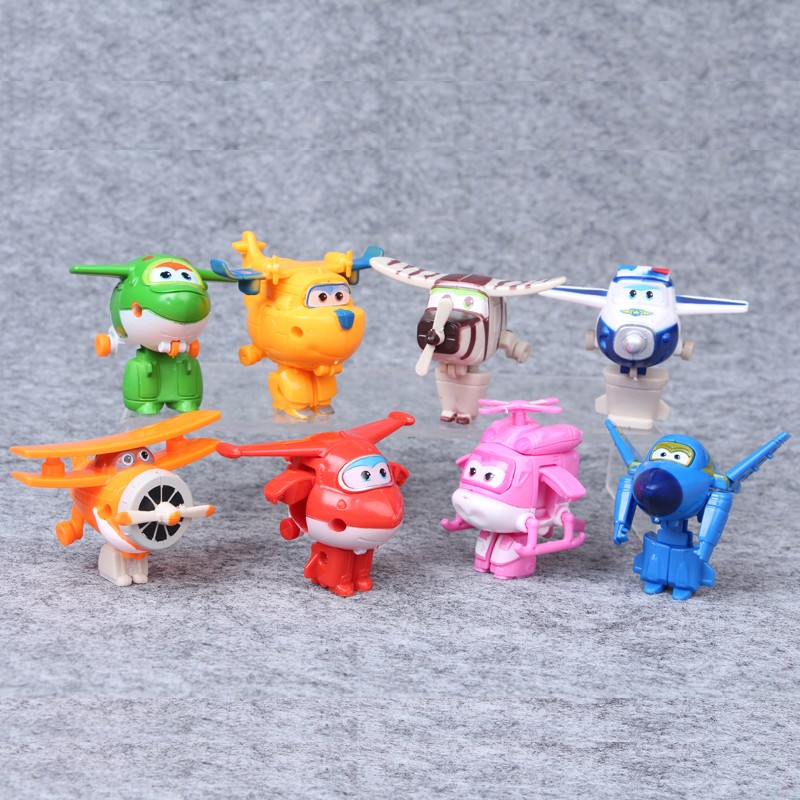 8Pcs/set New Mini Super Wings Action Figures Transformation Airplane Robot Toys For Children Birthday Gift Superwings Collection with package 6 pcs set transformation robot cars and bruticus toys action figures block toys for kids birthday gifts