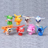 8Pcs/set New Mini Super Wings Action Figures Transformation Airplane Robot Toys For Children Birthday Gift Superwings Collection