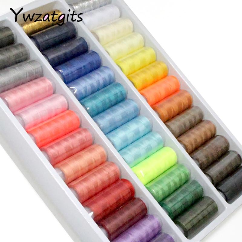 1 caja 39 PCS carretes colorido bordado de poliéster coser hilo acolchado.