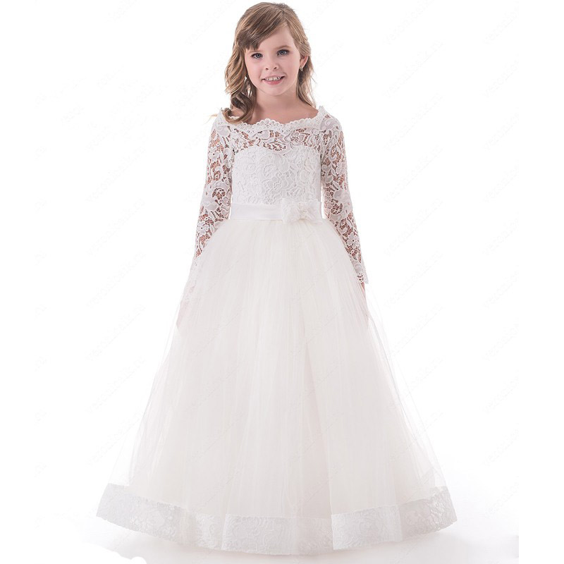 Long Sleeve A-Line Flower Girl Dresses for Weddings Scoop Lace Formal Dresses Tulle Holy Communion Dresses 2018 Toddler Dresses hot sale scoop lace applique a line full length tulle long sleeves flower girl dresses for weddings first communion dress gowns