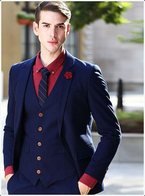 2017 Latest Coat Pant Designs Navy Blue Wedding Suit For Men Formal
