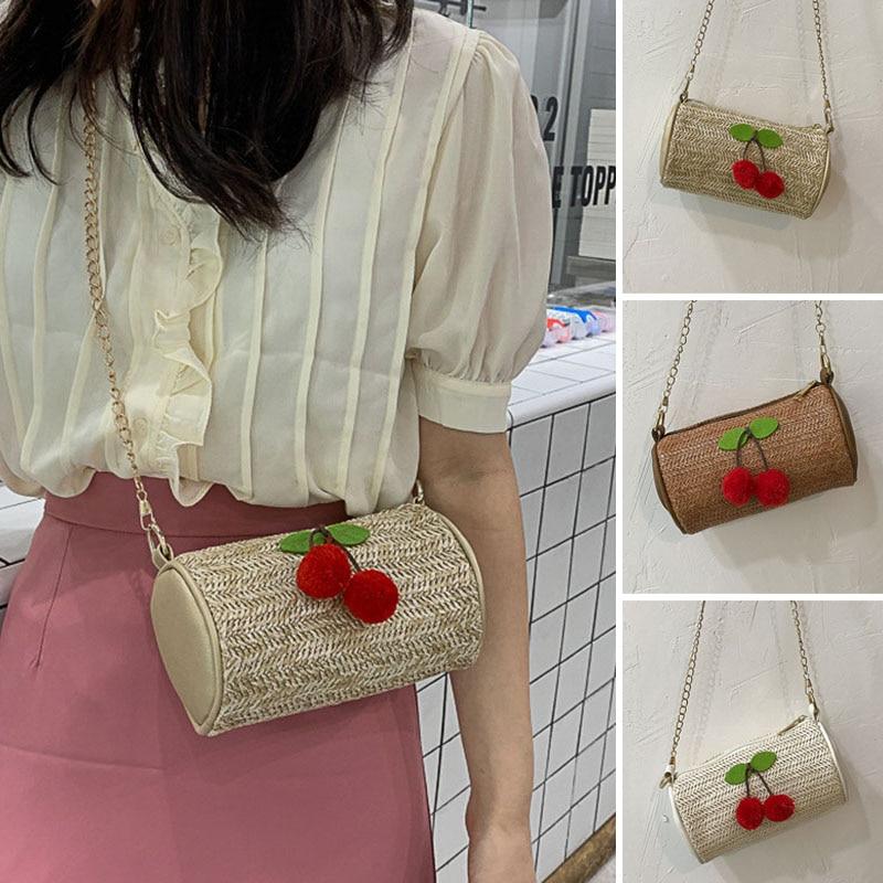 Women Bag 2019 Fashion Womens Small Fresh Fashion Straw Cherry Cylinder Bag Joker Shoulder Slung Bag Female Bolsa Feminina