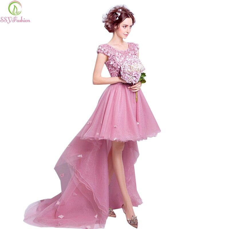 Liquidación ssyfashion dulce rosa encaje flor banquete bordado corto ...