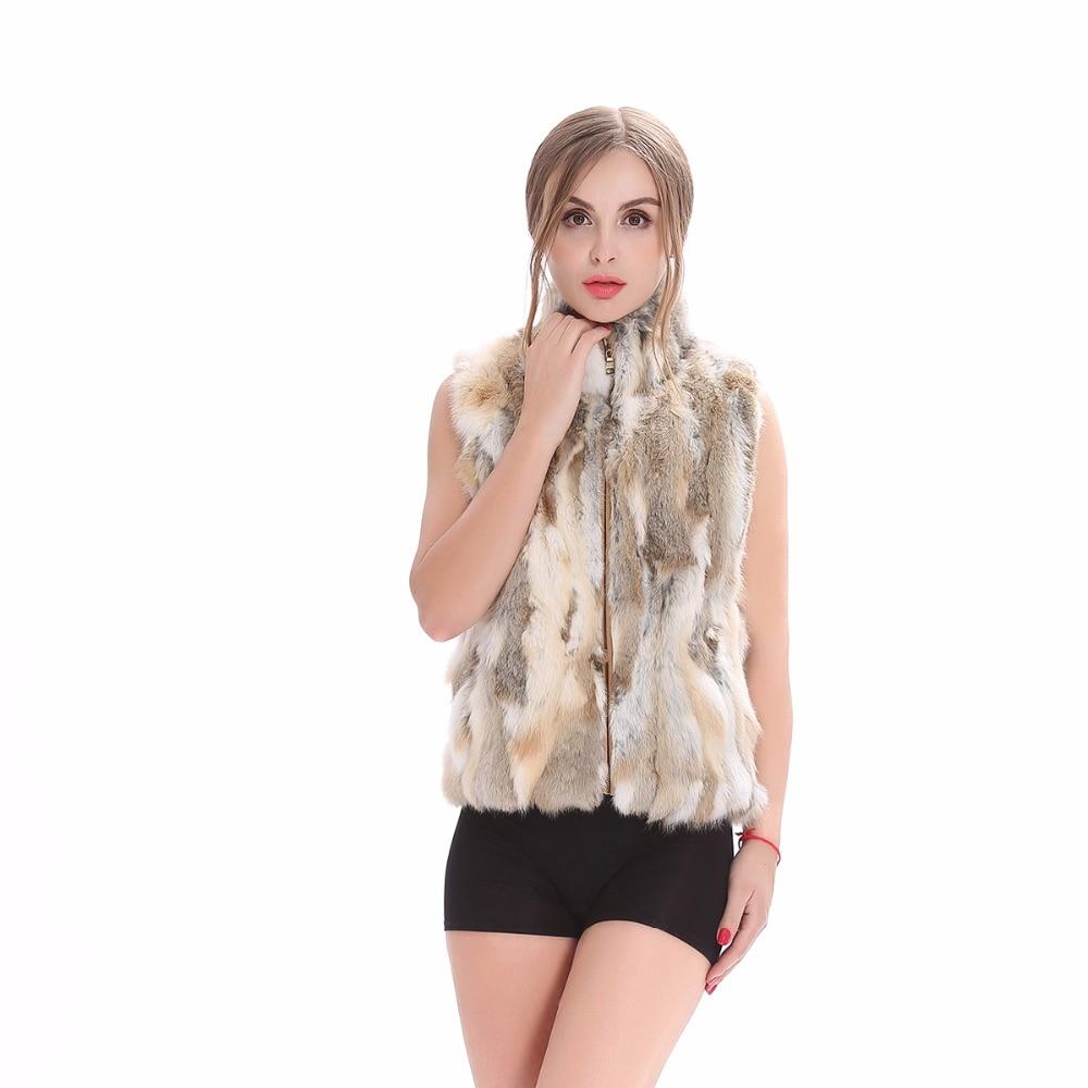 ZY88041-1 Осень подлинный натуральных мех кролика Меховой жилет воротник стойка зимний женский меховой жилет женская верхняя оде