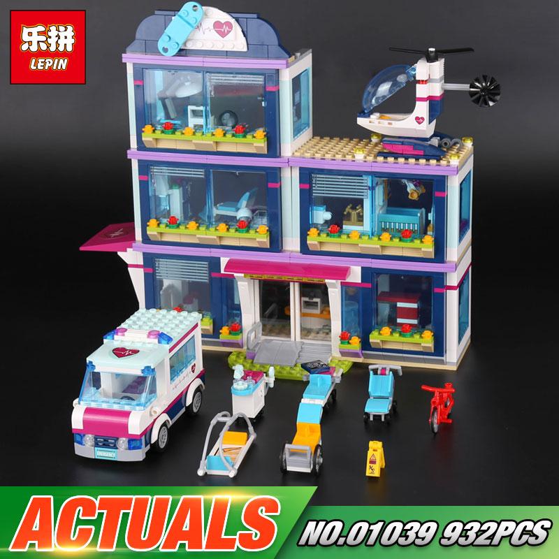 Lepin 01039 Genuine 932Pcs Girl Series The Heartlake Hospital Set 41318 Building Blocks Bricks Funny Christmas Gift For Children sending