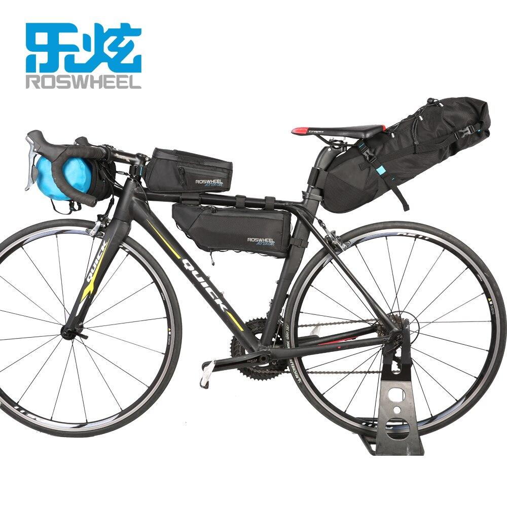 Sacs de vélo en nylon entièrement imperméables de série d'attaque de ROSWHEEL sac de tube avant de tête de vélo sacs de selle de queue sacoches de bicyclette