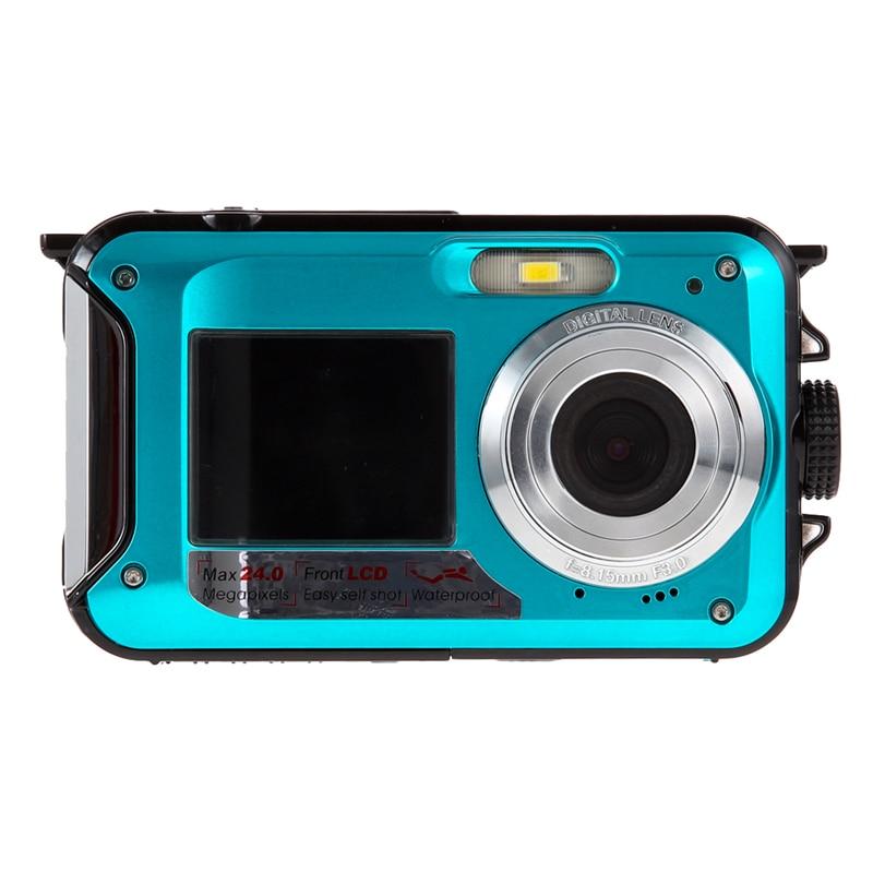 Duble Screen HD 24MP Waterproof Digital Video Camera Support Print directly/ Microphone 1080P DV 16x Digital Zoom цена