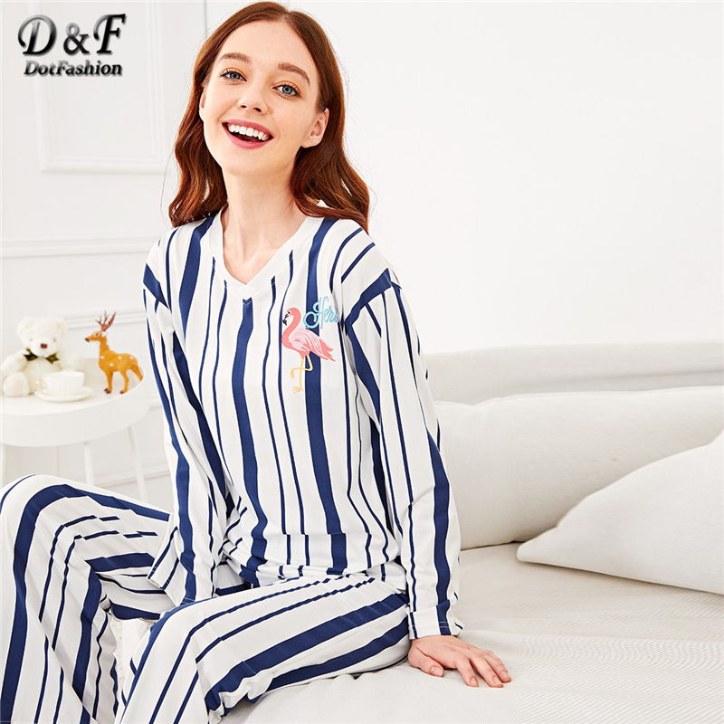 Dotfashion Blue Flamingo Print Striped   Pajama     Set   Women Autumn Clothing 2019 Casual Long Sleeve Nightwear Womens   Pajama     Sets