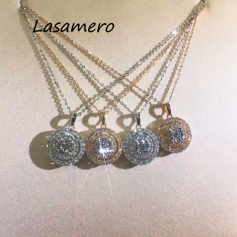 LASAMERO Double Halo 0.07CT Round Cut Pave Set Solid 18k Gold Natural Diamond Pendant Necklace Chain Fine Jewelry Gift For Her moissanite gh color 18k solid yellow gold round cut pendant with 18k gold chain necklace for women fine jewelry