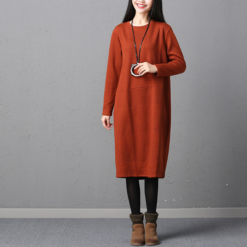 Vestidos Plus Size Women Vintage Knitted Long Sleeve Dress 2017 Autumn Ladies Female Casual Loose Solid O Neck Mid-Calf Dresses plus size double pockets knitted dress
