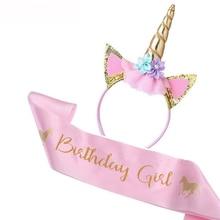 Unicorn Horn Headband Sash Shower-Decor Birthday-Party-Decor Girl Baby 1st Satin Silk