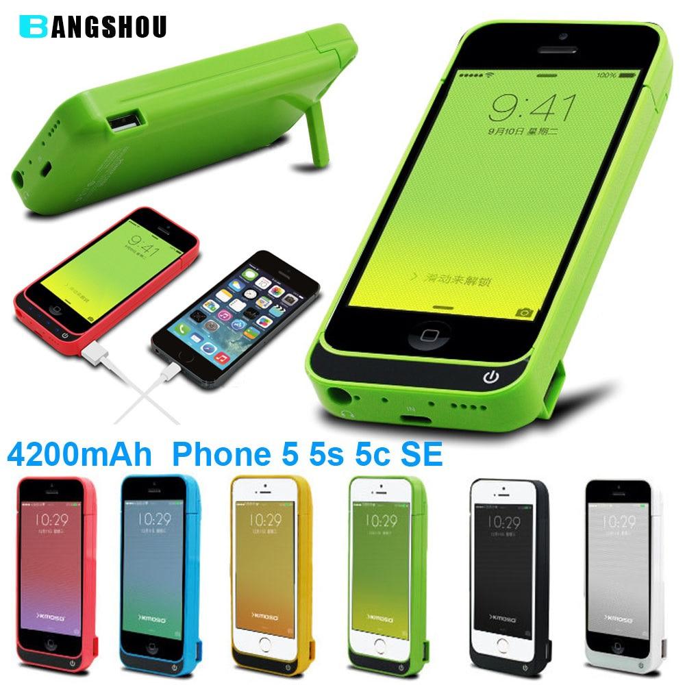 imágenes para Para el iphone 5 5C 5S SÍ Caso Del Cargador de Batería 4200 mAh de Potencia banco Caja de Batería Cubierta de la Caja para el iphone 5 5C 5S SÍ
