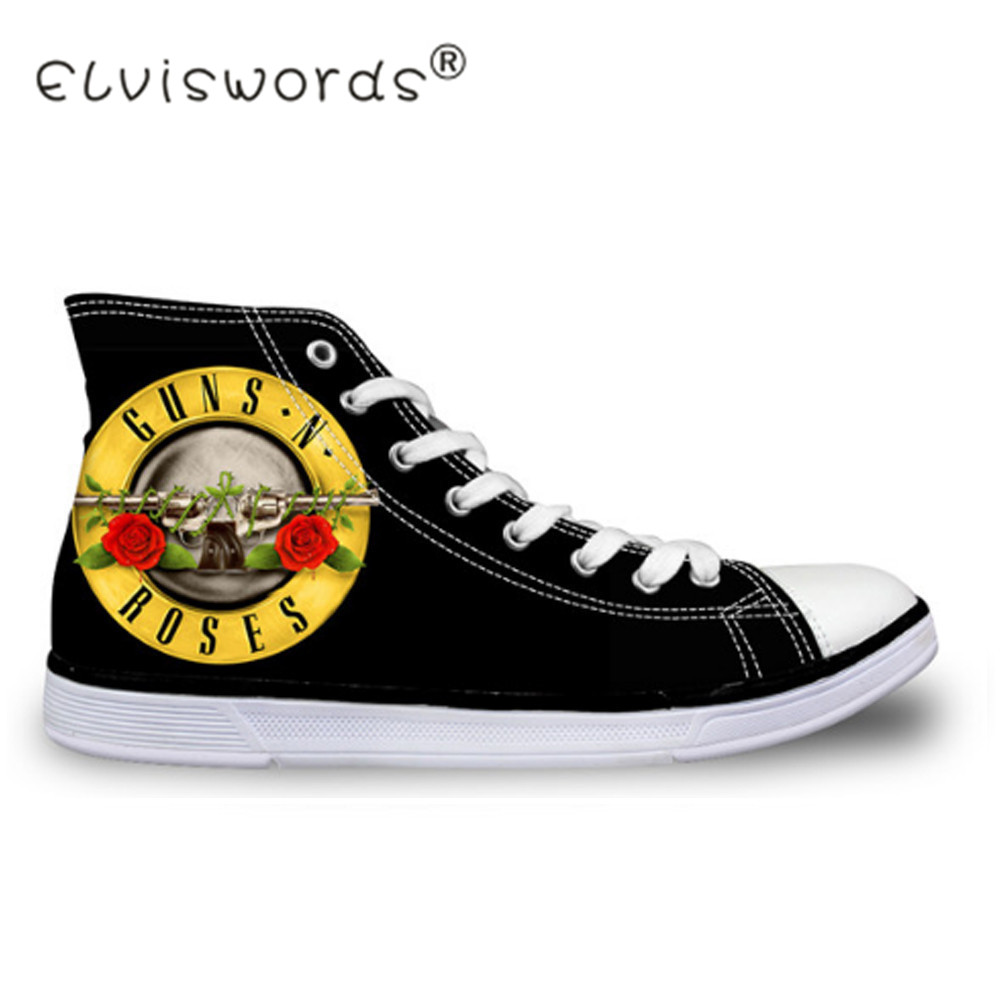 ELVISWORDS Retro Women Men Vulcanize Shoes Guns N Roses Rock Printed Couples High Top Canvas Shoes Lace-up Flat Tenis Feminino 2018 spring canvas shoes flat casual shoes black lace up shoes lovely cat printed women high top canvas female vulcanize shoes