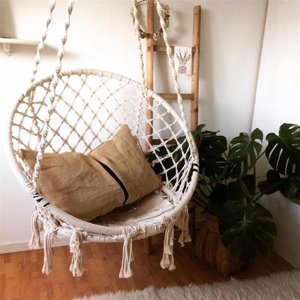 Swinging Chair Outdoor Handmade Knitted Swing Chair Outdoor Cotton Rope Patio Garden Hammock Chair Swing Perfect For Indoor Outdoor Home Patio Deck