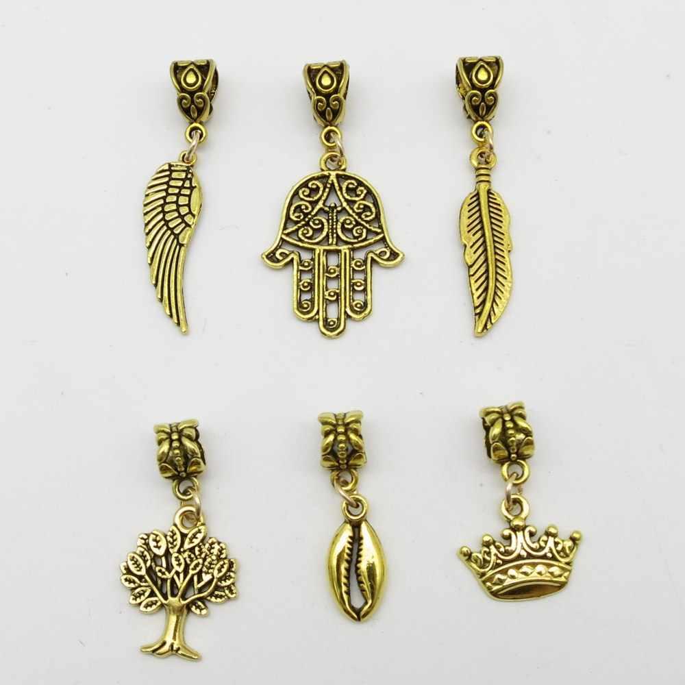 6 шт./упак., золотистые, разные 6 стилей, шармы, коса для волос, dread dreadlock, бусины, клипсы, манжеты кольца, ювелирные изделия, аксессуары для дредов