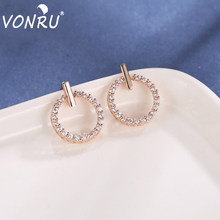 Newest Trendy Zirconia Women'S Bling Bling Earrings Simple Delicate Round Circle Party Earrings For Female Fashion Jewelry Gift(China)