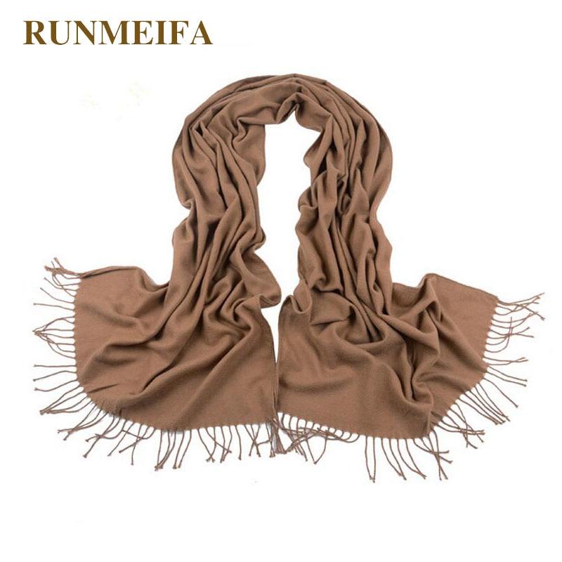 [RUNMEIFA] Brand Cashmere Design long Scarf Plain black Fashion Warm in Winter spring autumn Shawl For Women pashmina shawl