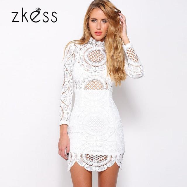 77cb4a2eda1cbc Zkess Vestido de Renda Vetersluiting Lange Mouwen Winter Korte jurk om  Party Clubwear Wit Gehaakte Kant