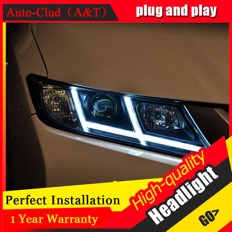 Auto Clud Car Styling For Honda City headlights 2014-2017 For City head lamp led DRL front Bi-Xenon Lens Double Beam HID KIT