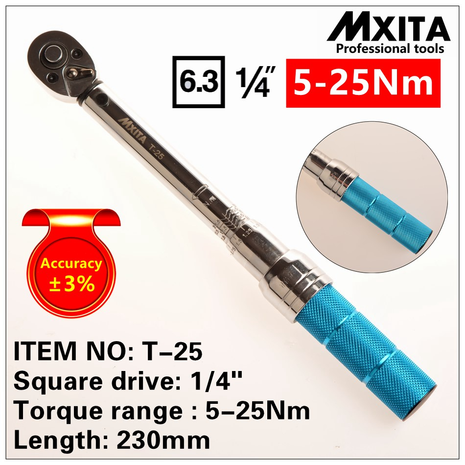 MXITA Accuracy 3% 1/4 5-25Nm High precision professional Adjustable Torque Wrench car Spanner car Bicycle repair hand tools set mxita 1 2 5 60n adjustable torque wrench hand spanner car wrench tool hand tool set