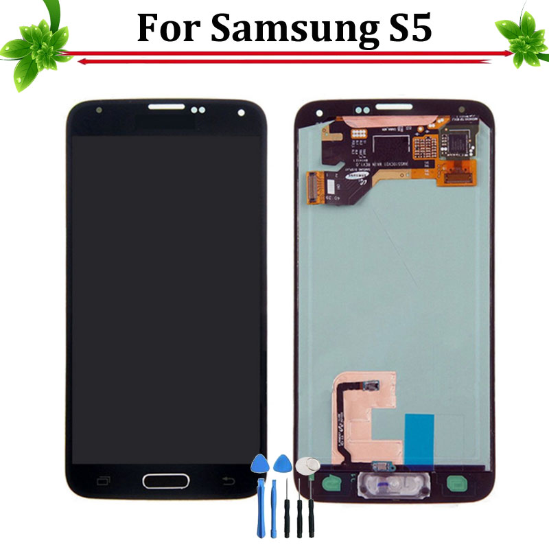 White/Black Super AMOLED HD LCD Display With Touch Screen Assembly For Samsung Galaxy S5 G900V G900A G900F Free Shipping
