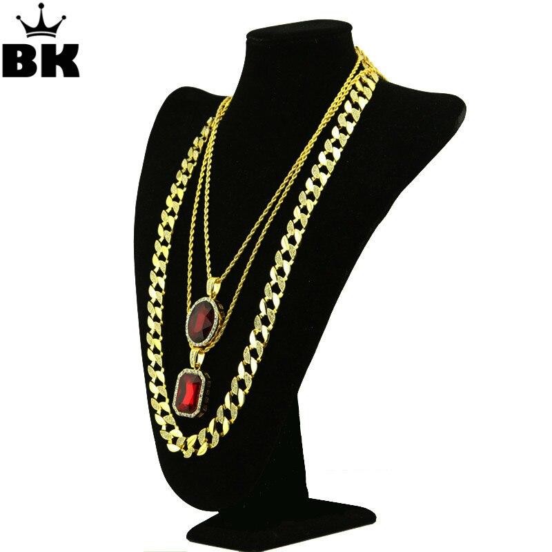 Hip Hop Unisexe de Rappeur 3 Collier Set de Haute Qualité Gold Tone Rouge Strass Chaîne Cubaine Collier Bijoux
