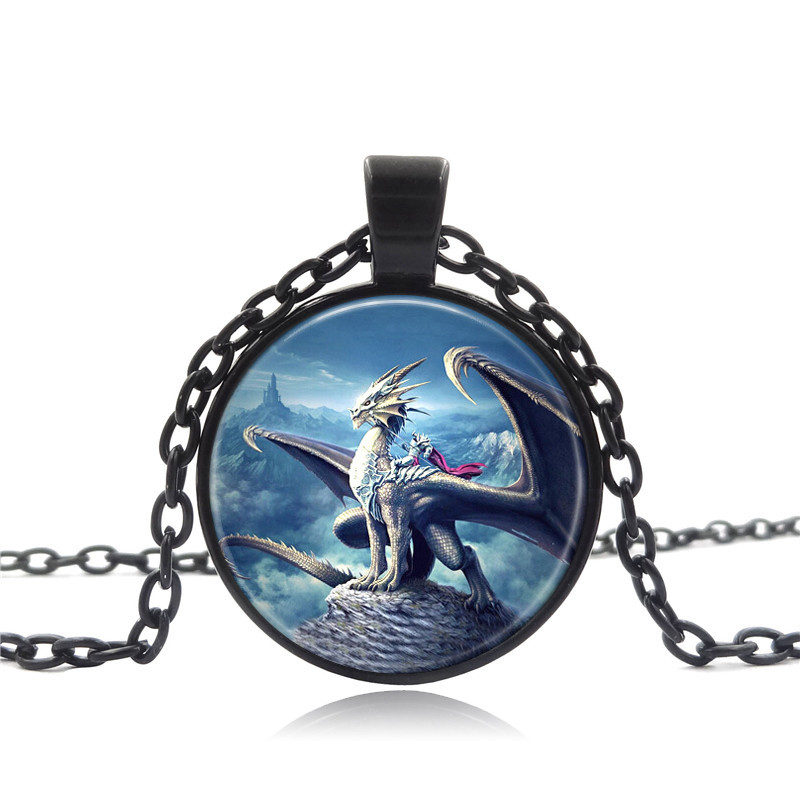 Handmade Glass Cabochon Pendant Necklace Winged Dragon Warrior Art Picture Vintage Jewelry Black Chain Necklace for Women Gift