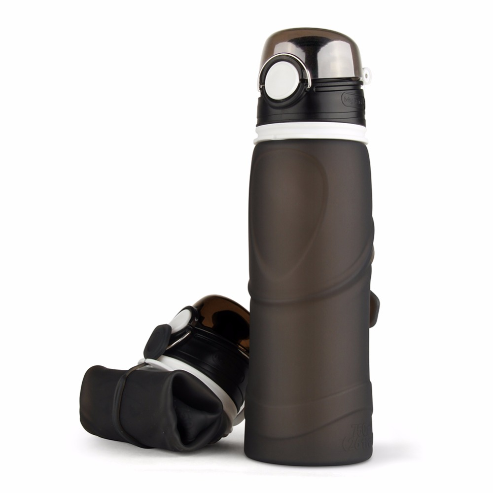 High Quality 750ML Portable <font><b>Foldable</b></font> Leakproof Water Bottle Kettle <font><b>Cup</b></font> Outdoor Sport Camping <font><b>Silicone</b></font> Folding Water Bottle -35
