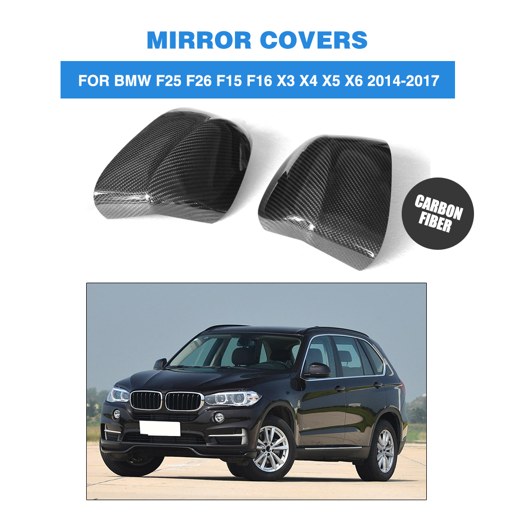 Car Mirror Cover Auto Rear Mirror Fender Carbon Fiber Replace Type Fit for BMW F25 F26 F15 F16 X3 X4 X5 2014 UP Car Styling direct replacement carbon fiber wing mirror covers for bmw x5 f15 x6 f16 facelift auto side mirror caps car styling