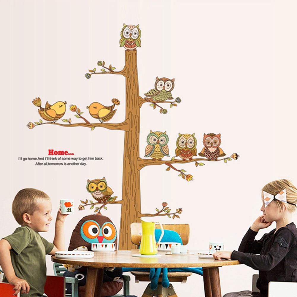 Brown Tree wall decal  Owls and Birds  Home Decor  Kids Wall Sticker  Nursey Decor muurstickers stickers muraux adhesivo pared