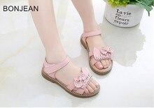 Сандалии для девочек 2018 новые летние ребенок противоскользящие туфли принцессы со стразами детская обувь для учащихся Показать обувь n33900 обувь