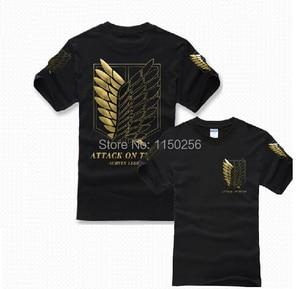 Anime Attack on Titan Cosplay Costume Shingeki no Kyojin Anime T-Shirt Tee 100% Cotton Golden Anime T Shirt Free Shipping New