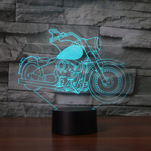 Novelty USB 3D  LED Lamp Novelty Motorbike Shape Night Lamp Colorful Changing Night Lights as Home Decoration