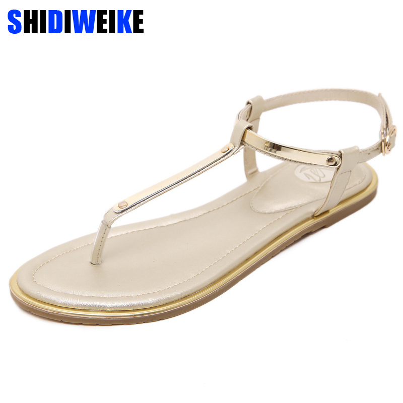 New 2019 Women <font><b>sandals</b></font> <font><b>sexy</b></font> thin belt <font><b>flat</b></font> <font><b>sandals</b></font> for women summer gold <font><b>sandals</b></font> with T-Strap sandalias mujer size 34 - 43 m764 image